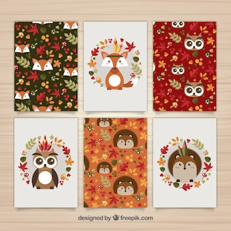 Cute collection of autumn forest animals cards