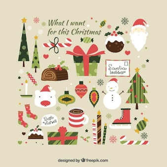 Cute collection of christmas elements illustration