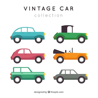 Cute collection of colored vintage cars