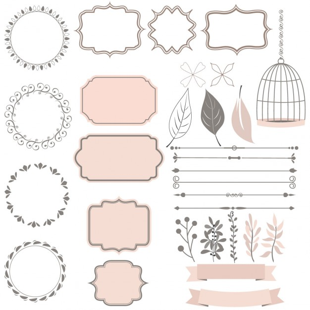 Cute collection of decoration elements