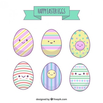 Cute colored Easter eggs set