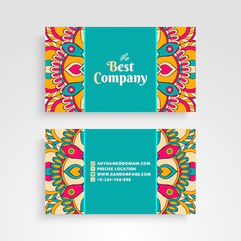 Cute colorful floral mandala visiting card