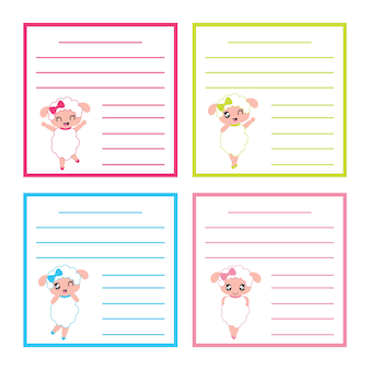 Cute colorful sheep girl vector cartoon for kid labels
