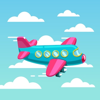 Cute comic air plane jet flying fast in the sky