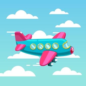 かわいいコミック飛行機ジェット機が空を飛ぶ