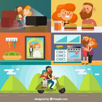 Cute couple scenes in flat design