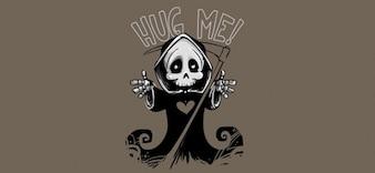 Cute death mascot & ; grim reaper