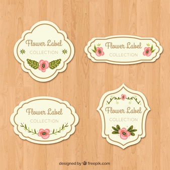 Cute decorative stickers with pink flowers