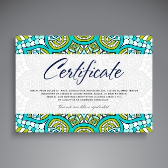 Cute diploma with mandala concept