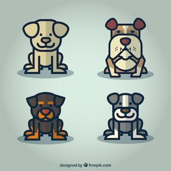 Cute dog cartoon set