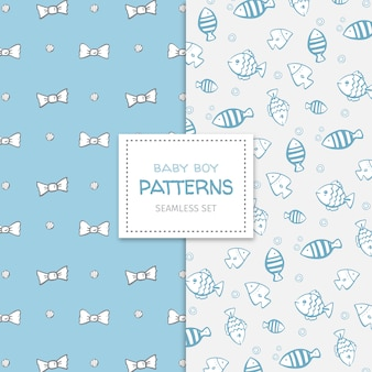Cute doodle set of patterns for a baby boy