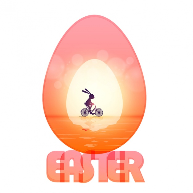 Cute easter background of rabbit riding a bicycle