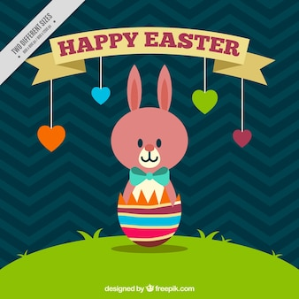 Cute easter day background with rabbit and hearts hanging
