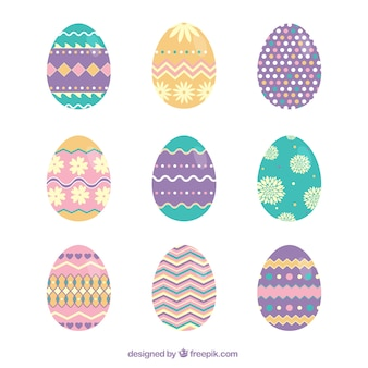 Cute Easter eggs with abstract ornaments
