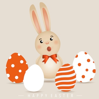 Cute easter rabbit with eggs