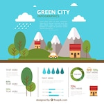 Cute ecological village infograhy