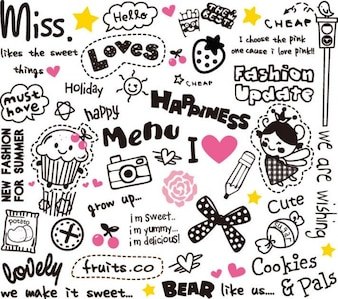 cute elements design vector set