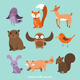 Cute enjoyable animals set