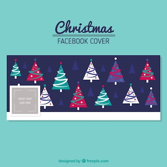 Cute facebook cover with christmas trees