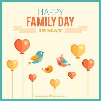 Cute family day card with birds and heart shaped balloons