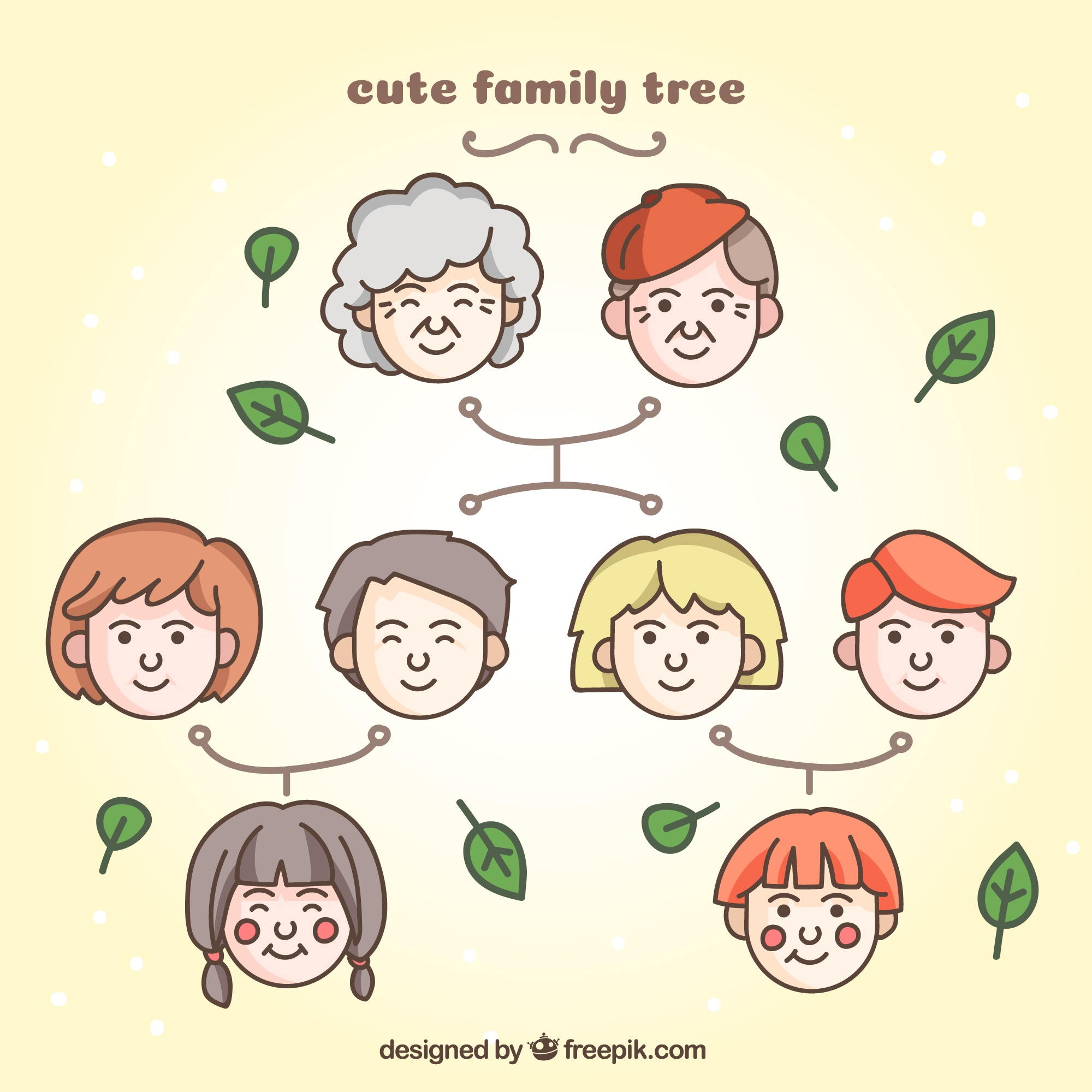 Cute family tree with decorative leaves