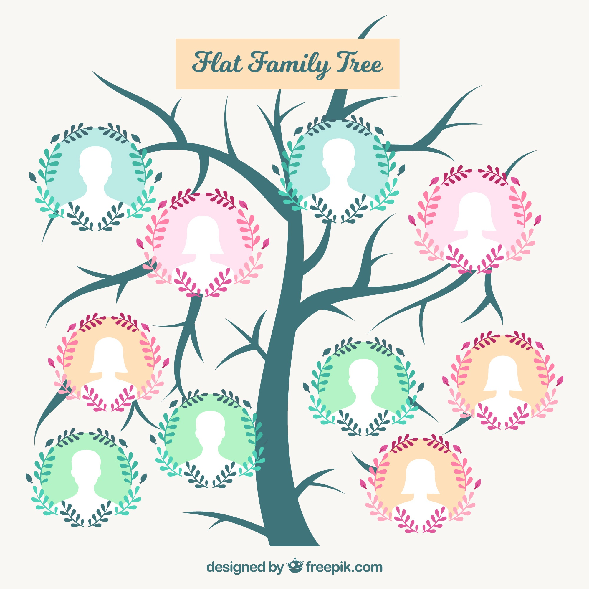 Cute family tree with floral wreath