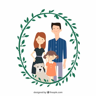 Cute family with decorative floral wreath