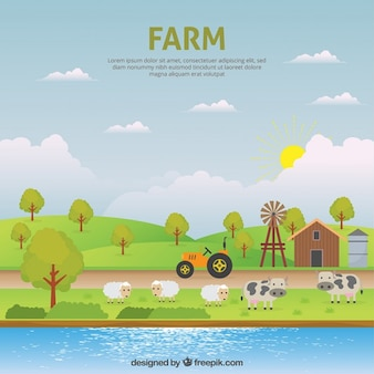 Cute farm landsape with animals