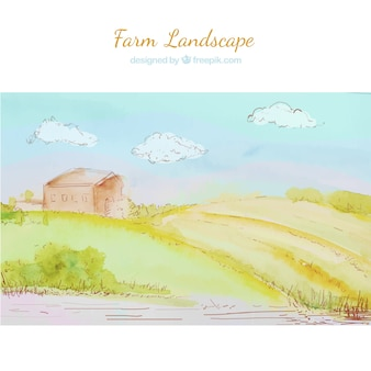Cute farm landscape in watercolor
