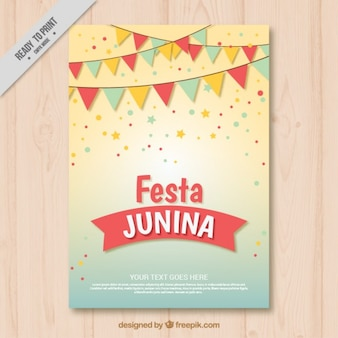 Cute festa junina invitation with garlands