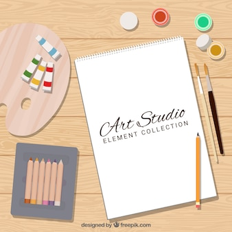 Cute flat collection of art materials