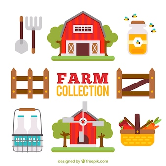 Cute flat farm collection