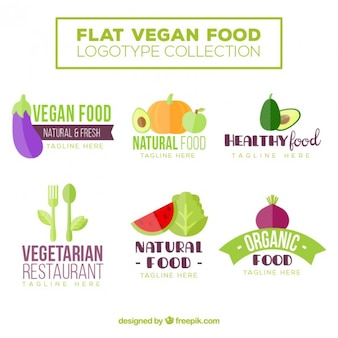 Cute flat vegan food logos