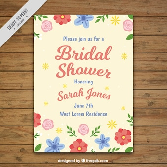 Cute floral bridal shower invitation template