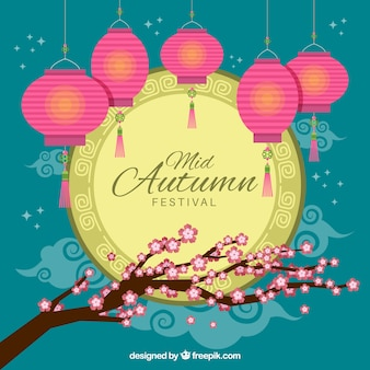 Cute floral scene with lights, mid autumn festival