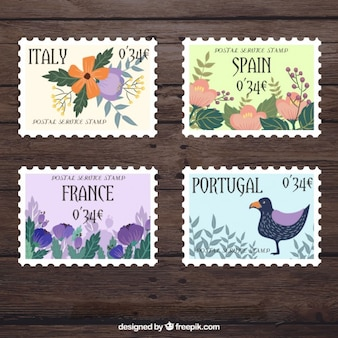 Cute floral stamps of countries