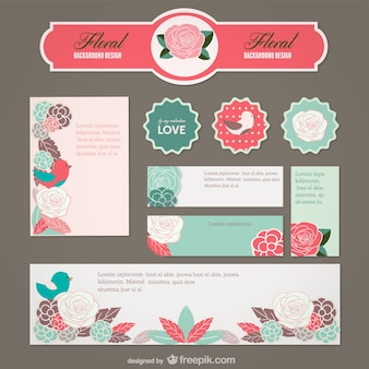 Cute floral web elements