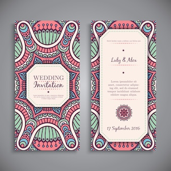 Cute floral wedding invitation in mandala style