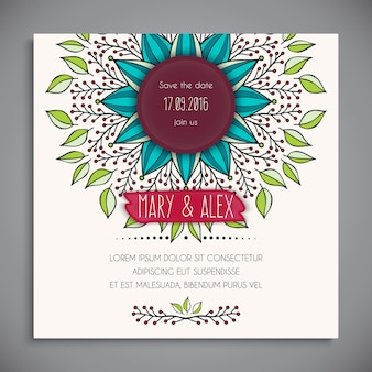 Cute floral wedding template