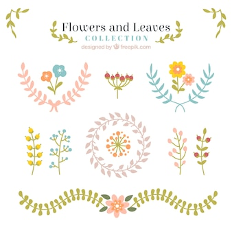 Cute flowers and leaves pack