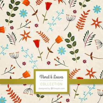 Cute flowers and leaves pattern
