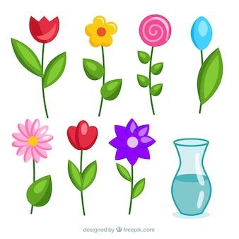 Cute flowers set