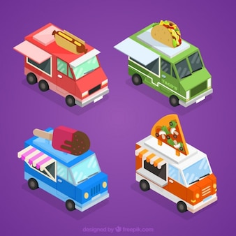 Cute food trucks with variety of food