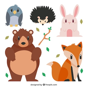 Cute forest animals in flat design