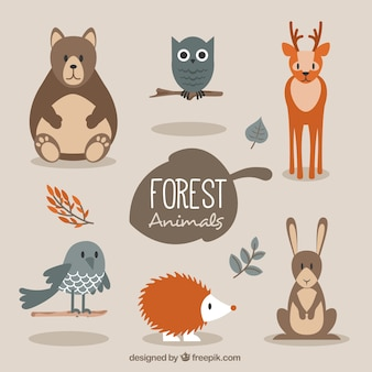 Cute forest animals in flat style