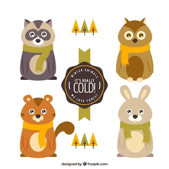 Cute forest animals with scarves