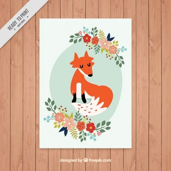 Cute fox card with floral details