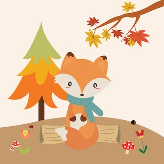 Cute fox in autumn forest