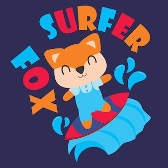 Cute fox is surfing vector cartoon illustration for kid t shirt design, kid nursery wall and graphic wallpaper
