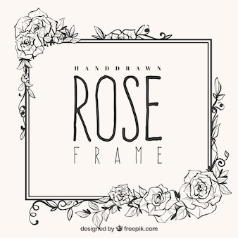 Cute frame of hand-drawn roses
